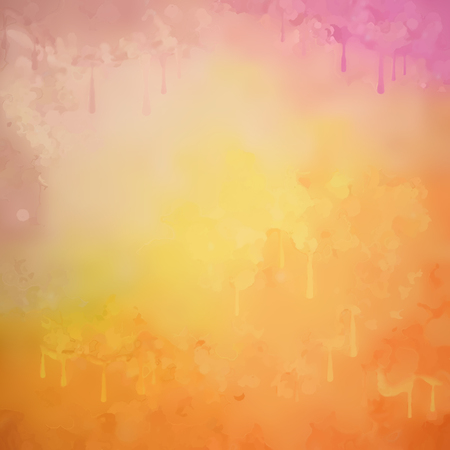Abstract vector watercolor background with grunge painting texture, paint drips Illustration