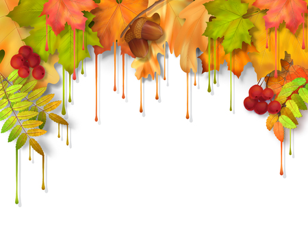 tree leaves: Vector autumn fall leaves with dripping paint, artistic border design on a white background Illustration