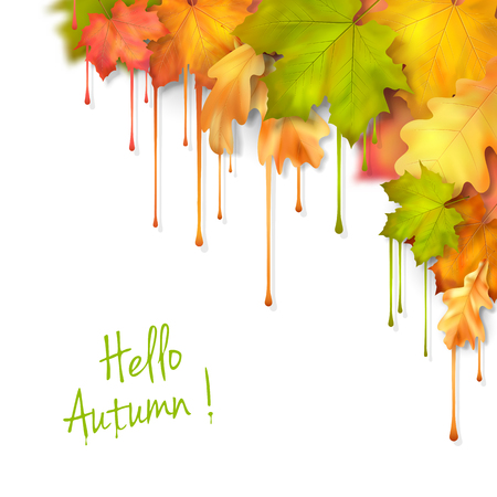 fall leaves on white: Vector autumn fall leaves with dripping paint, artistic corner design on a white background