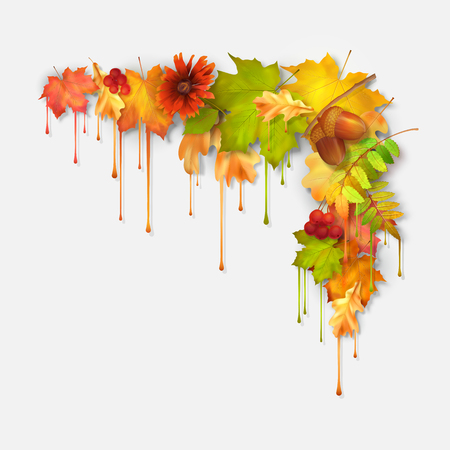 corner design: Vector autumn fall leaves with dripping paint, artistic corner design on a white background