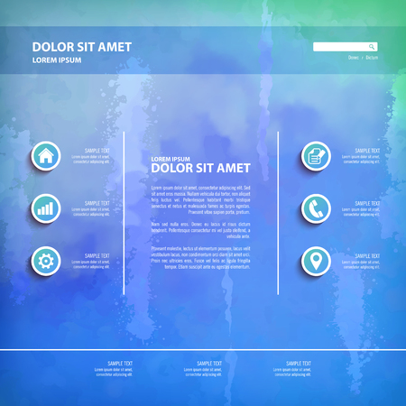 paint drips: Abstract vector watercolor background with grunge painting texture, paint drips. One Page Website Template