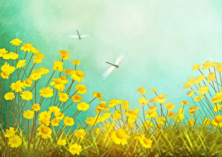 yellow landscape: Autumn artistic landscape field drawing with yellow flowers, dragonfly