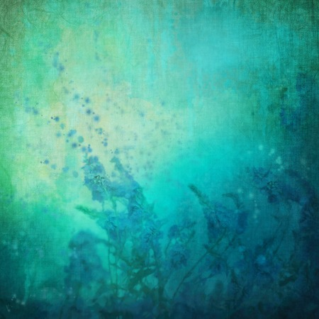 Romantic painting illustration with flowers on grunge background with fabric texture