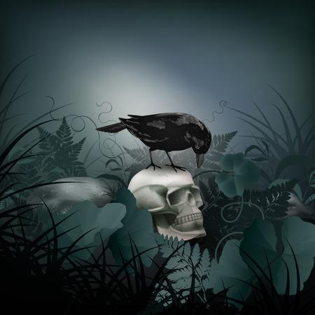 corvo imperiale: Scena di Halloween vettore di notte con il cranio, Black Raven, pietre e felce