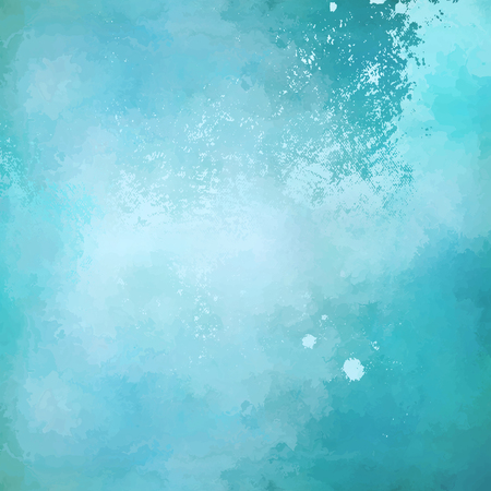 Abstract blue vector watercolor background with subtle grunge painting texture