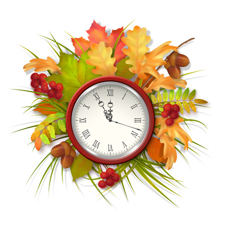 fall leaves on white: Autumn vector composition with fall leaves, clock on white background Illustration