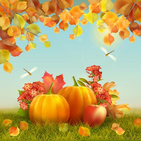 manzana: Vector otoño tarjeta de la acción con la cosecha, calabazas, hojas caídas, ramas de árbol, libélula