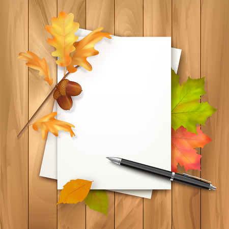 ballpoint: Vector autumn background with note sheets of paper, fallen leaves, ballpoint pen on wooden background