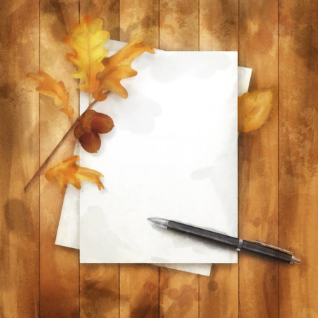 note paper background: Autumn watercolor painting background with note sheets of paper, fallen leaves, ballpoint pen on wooden background