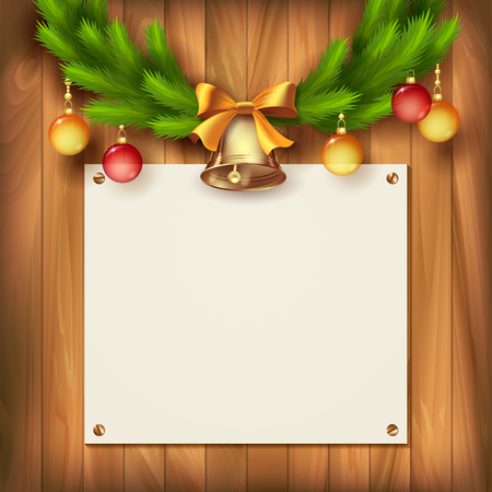 door bell: Vintage vector card with Christmas tree garland, bells, bow, Christmas balls on wooden wall