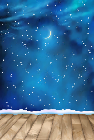 nightly: Vector winter nightly clouds background with textured wooden floor, snow