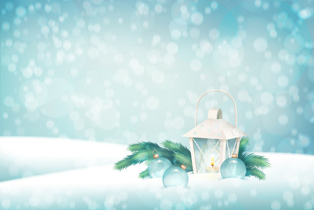 scene: Vector Winter Christmas Scene Background. Xmas landscape with fir tree branches, lantern, baubles Illustration