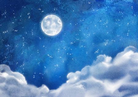 積雲の雲と月と水彩の夜間の劇的な青の風景