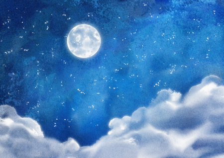 Watercolor nightly dramatic blue landscape with cumulus clouds and moon