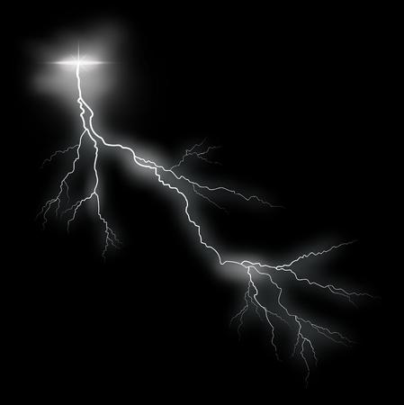 黒い背景に嵐のベクトルの稲妻