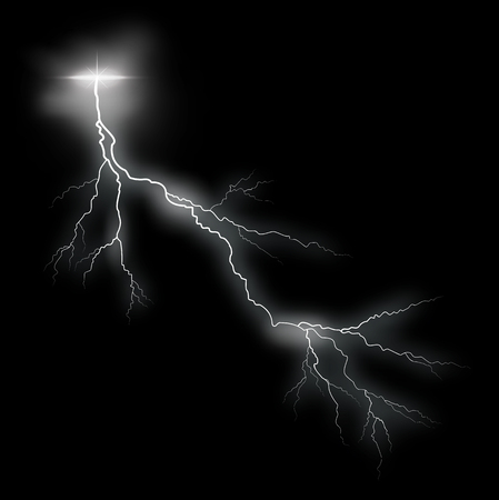 Storm vector lightning bolt on black background Stok Fotoğraf - 46790828