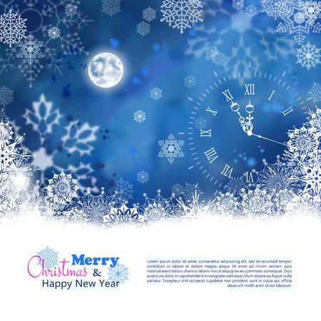 christmas night: Vector Christmas Night Background with snowflake border, moon, clock