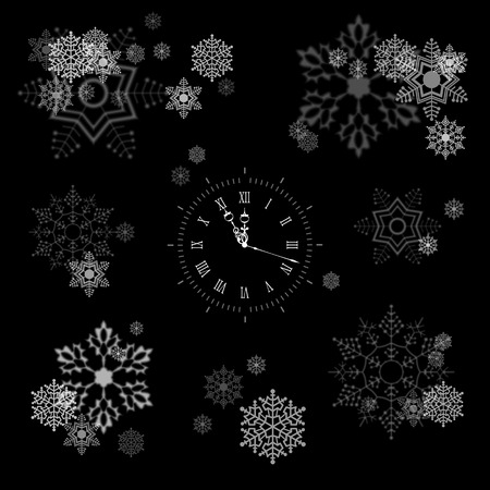 watch new year: Vector Snowflakes Collection Various compositions of blurred and transparent snowflakes on black background