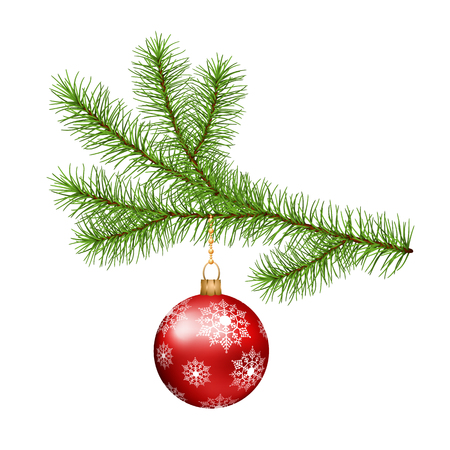 Christmas tree branch hanging red ball on white background Illustration