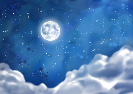 cumulus cloud: Watercolor vector nightly dramatic blue landscape with cumulus clouds and moon