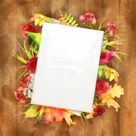 note paper background: Autumn watercolor painting background with note sheets of paper, fallen leaves on wooden background