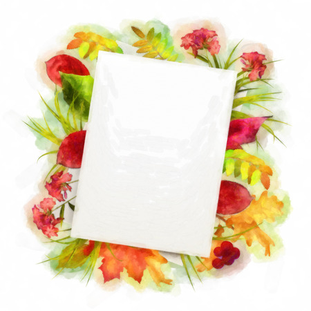 note paper background: Autumn watercolor painting background with note sheets of paper, fallen leaves on white background