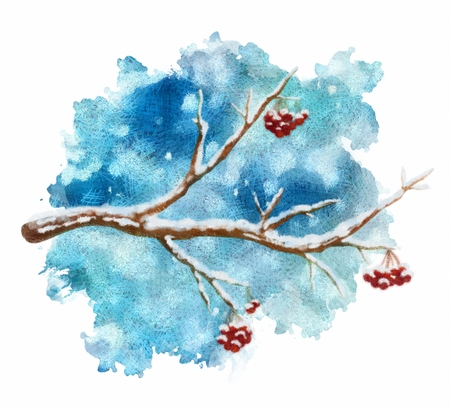 Twigs: Pastel winter tree branch on abstract snow background