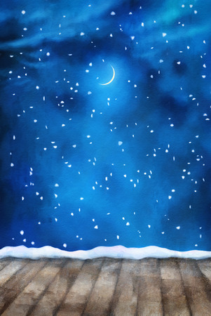 night: Winter night painting background with textured wooden floor, snow