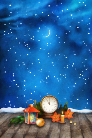 watch new year: Christmas and New Year Night Watercolor Background with vintage clock candle, poinsettias, Christmas tree branches, Xmas ornaments, lantern Stock Photo