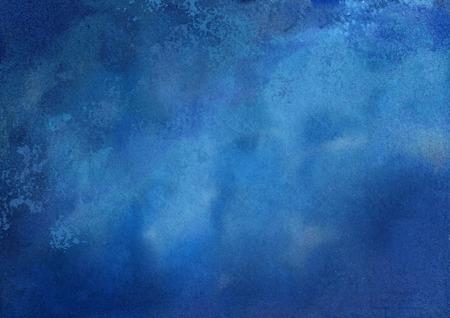 Abstracte donker blauwe aquarel getextureerde artistieke achtergrond