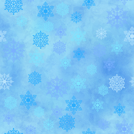 winter wallpaper: Wrapping Christmas paper background with snowflake seamless pattern, subtle grunge texture. Vector holiday winter wallpaper Illustration