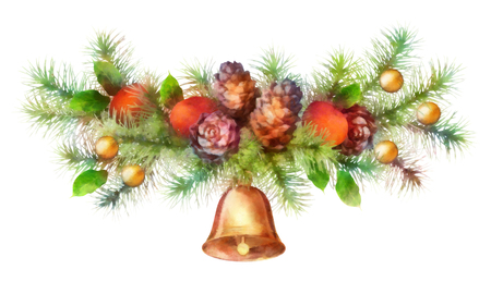 holiday garland: Christmas holiday watercolor tree branch garland with cones, bell, decoration on white background Stock Photo