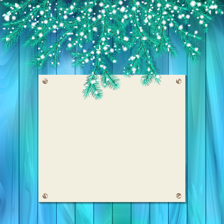 snowcovered: Vector Christmas card with snow-covered spruce branches, blank signboard on wooden wall