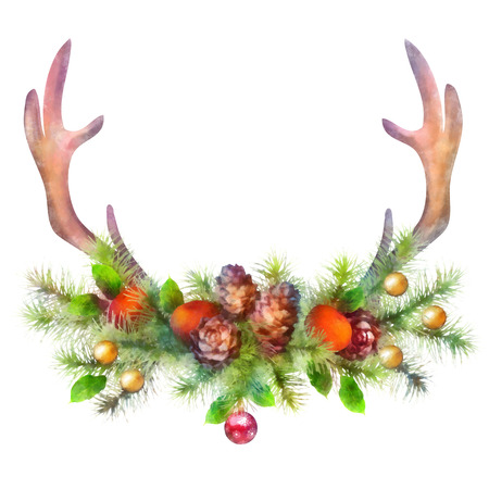 christmas garland: Christmas holiday watercolor tree branch garland with  deer antler, cones, bell, decoration on white background