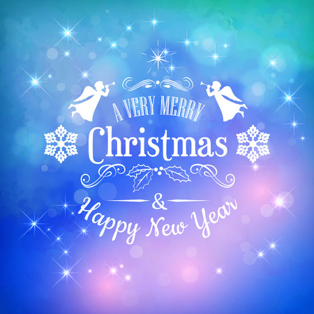 new year greeting: Merry Christmas and Happy New Year greeting card with Typography
