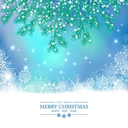 Christmas Vector Background. Snow-covered spruce branches,, snowflakes, abstract frame from snowflakes on blue holiday backdrop Vettoriali