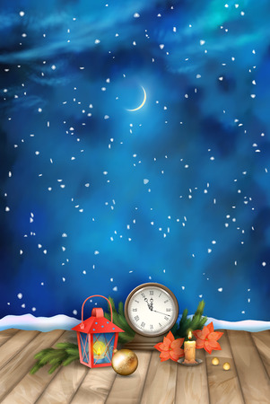 christmas night: Christmas and New Year Night Watercolor Background with vintage clock candle, poinsettias, Christmas tree branches, Xmas ornaments, lantern Illustration