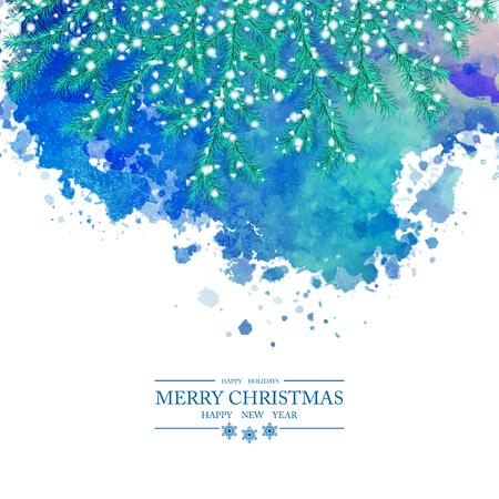 クリスマス水彩ベクトルの背景。雪に覆われた小ぎれいなな枝、抽象的な塗装しみ、メリー クリスマスと新年あけましておめでとうございますテキ