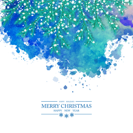 Christmas Watercolor Vector Background. Snow-covered spruce branches, abstract painted blot, Merry Christmas and a Happy New Year text on white background