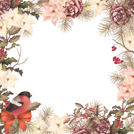 Christmas retro watercolor decorative frame composition. Bird bullfinch, poinsettia flowers with Rowan and Holly branch on a white background Archivio Fotografico