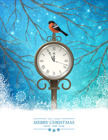 vintage landscape: Vector Winter Christmas Scene Background. Xmas landscape with tree branches, vintage outdoor clock, bird bullfinch in the evening