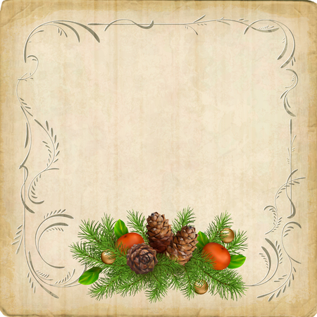 christmas garland: Vintage vector card with Christmas tree garland, decorative border frame Illustration