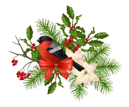 Kerst vector decoratieve samenstelling. Vogel goudvink, poinsettia bloemen met Rowan en Hulst tak op een witte achtergrond