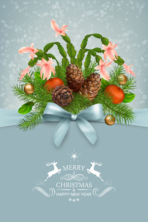 christmas garland: Vector Christmas and New Year greeting card. Tree branches garland with cones and decoration, bow, calligraphic text on abstract holiday backdrop