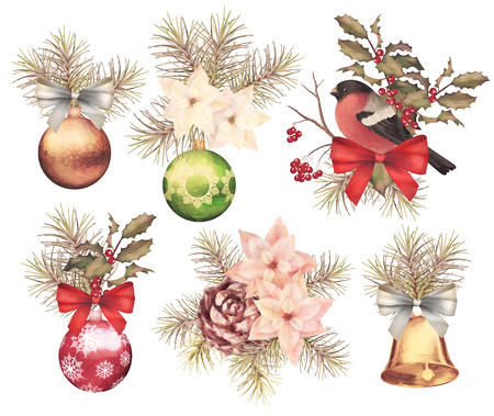 cedar: Christmas retro watercolor decorative composition set with bird bullfinch, poinsettia flowers, decorations, fir tree and Holly branch on a white background Stock Photo