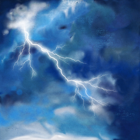 stormy: Stormy night sky watercolor painting abstract background with lightning