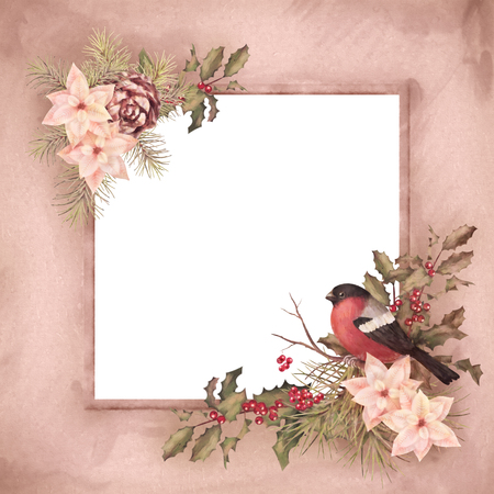 animal frame: Christmas retro watercolor decorative frame. Bird bullfinch, poinsettia flowers with Rowan and Holly branch