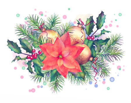 original: Christmas holiday watercolor garland with decorations on white background