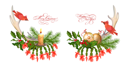 merry christmas and happy new year vector greeting card holiday composition of the christmas decorations
