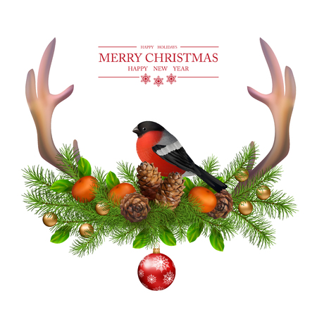 Merry Christmas vector greeting card. Holiday Composition of the Christmas decorations with  deer horns, cones, bird bullfinch on white background